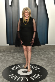 Martha Stewart was '60s-glam in a little black dress with sheer bell sleeves at the 2020 Vanity Fair Oscar party.