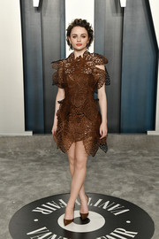 Joey King looked super cool in a laser-cut brown mini dress by threeASFOUR at the 2020 Vanity Fair Oscar party.