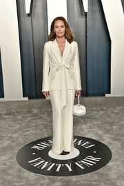 Diane Lane opted for a white pantsuit with a bowed waist when she attended the 2020 Vanity Fair Oscar party.