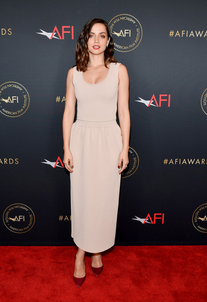Ana de Armas kept it low-key in a nude tank dress by Schiaparelli at the 2020 AFI Awards.