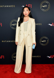 Awkwafina opted for a pale yellow Veronica Beard pantsuit when she attended the 2020 AFI Awards.