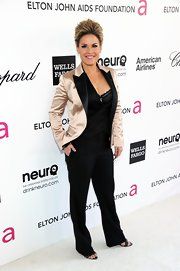 Cat Cora looked quite posh in a satin blazer at the Elton John AIDS Foundation Academy Awards viewing party.