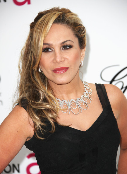 More Pics of Adrienne Maloof Gemstone Inlaid Clutch (2 of 8) - Clutches Lookbook - StyleBistro [hair,face,hairstyle,blond,beauty,eyebrow,lip,long hair,shoulder,dress,arrivals,adrienne maloof,west hollywood park,california,elton john aids foundation,oscar viewing party]