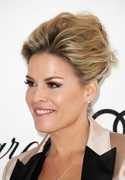 Cat Cora wore a chic French twist to the Elton John Oscar viewing party in West Hollywood.