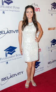 Danica McKellar polished off her sparkly look with a pair of silver strappy sandals.