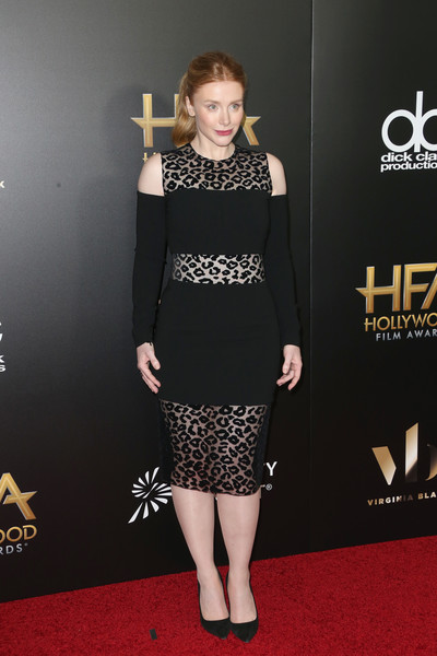 Bryce Dallas Howard went bold at the Hollywood Film Awards in a Mugler cold-shoulder LBD, featuring alternating solid and sheer leopard-patterned panels.