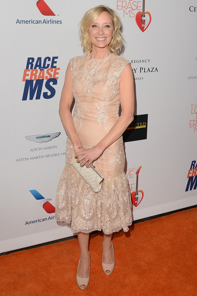 A nude lace dress gave Anne Heche a soft and romantic vibe at the Love to Erase MS Gala in California.