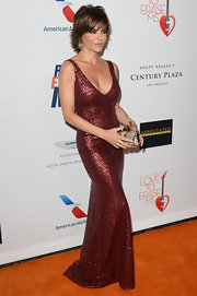 Lisa Rinna showed off some major sparkle with this dark red sequined dress.