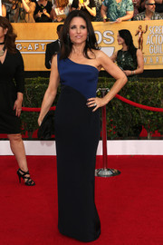 Julia Louis-Dreyfus was all about simple sophistication at the SAG Awards in a blue and black one-shoulder gown by Monique Lhuillier.