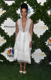 Susan Kelechi Watson took a daring plunge in this tiered white dress at FYC screening of 'This is Us.'