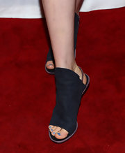 Bella Heathcote stepped out at the screening of 'Not Fade Away' wearing Balenciaga's Tube Leather slingbacks.