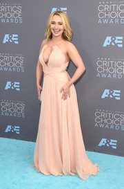 Hayden Panettiere put on a bold display at the Critics' Choice Awards in a nude Maria Lucia Hohan Grecian gown with a cleavage-baring neckline.