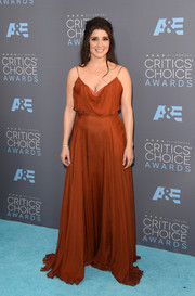 Shiri Appleby made a divine choice with this rust-colored Grecian gown by Leanne Marshall for the Critics' Choice Awards.