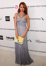 Debby Ryan looked feminine and flirty at Elton John's Oscar party in a lilac silk tulle bustier gown.
