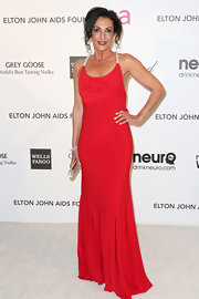 Ghada Dergham looked elegant and sophisticated in a red gown with sparkly straps.