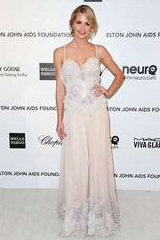 Lena Gercke opted for a super feminine frock for Elton John's Oscar party with this pastel floral gown.