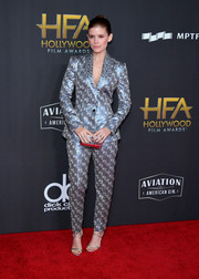 Kate Mara looked snazzy in a metallic pantsuit by Burberry at the Hollywood Film Awards.