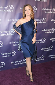 Sharon Lawrence wore a one-shouldered satin frock with matching print shawl at the 'A Night at Sardi's' Gala.