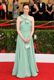 Andrea Riseborough looked youthful and feminine at the SAG Awards in a mint-green halter gown by Escada.