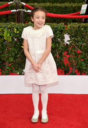 Aubrey Anderson-Emmons was a total cutie at the SAG Awards in this white jacquard and fur number.