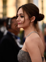 Emmy Rossum swept her hair back into a stylish twisted bun for the SAG Awards.