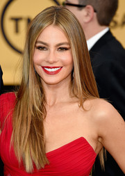 Sofia Vergara opted for a straight 'do, still with her signature center part, when she attended the SAG Awards.