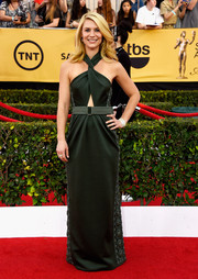Claire Danes was equal parts cool, sexy, and sophisticated at the SAG Awards in a forest-green Marc Jacobs halter gown with a midriff cutout and embellishments down both sides.