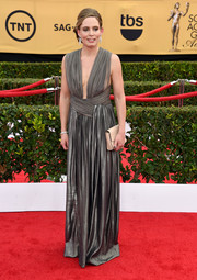 Vitalie Taittinger donned an ultra-sophisticated silver Grecian gown for the SAG Awards.