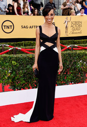 Shaun Robinson was sexy-edgy at the SAG Awards in a monochrome cutout gown by Lorena Sarbu.