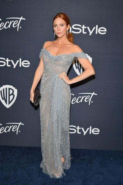 Brittany Snow channeled Queen Elsa in an ice-blue off-the-shoulder gown by Marchesa at the Warner Bros. and InStyle Golden Globes after-party.
