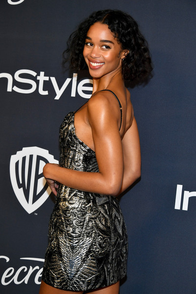 More Pics of Laura Harrier Strappy Sandals (1 of 2) - Heels Lookbook - StyleBistro [clothing,dress,fashion,thigh,leg,muscle,shoulder,long hair,model,fashion model,laura harrier,beverly hills,california,the beverly hilton hotel,warner bros,instyle golden globe,instyle golden globe after party,arrivals,laura harrier,golden globe awards,beverly hills,party 01,celebrity,instyle,party,photograph,warner bros.]