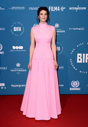 Gemma Arterton looked regal in a high-neck pink gown by Emília Wickstead at the 2018 British Independent Film Awards.