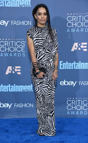 Lisa Bonet attended the Critics' Choice Awards wearing a draped zebra-print gown.