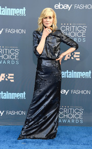 Judith Light struck a pose on the Critics' Choice Awards blue carpet wearing a strong-shouldered sequin gown.