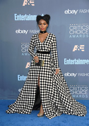 Janelle Monae was in the mood for bold patterns, pairing her gown with a zigzag box clutch by Emm Kuo.