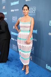 Tracee Ellis Ross oozed summertime charm in a colorful striped lace dress by Zuhair Murad at the Critics' Choice Awards.