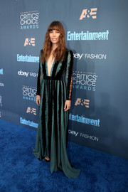 Jessica Biel took a bold plunge in this teal and black striped gown by Elie Saab at the Critics' Choice Awards.