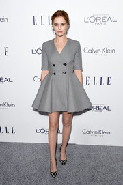 Zoey Deutch charmed at the Elle Women in Hollywood Awards in a gray fit-and-flare mini dress by Christian Dior.