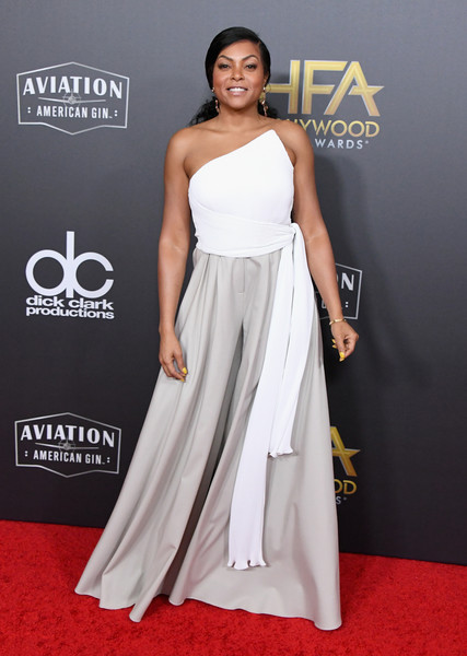 Taraji P. Henson went modern in an asymmetrical, strapless white top by Brandon Maxwell at the 2018 Hollywood Film Awards.