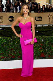 Sofia Vergara played up her famous curves in a strapless hot-pink Vera Wang gown, featuring a sweetheart neckline and a body-con silhouette, at the SAG Awards.