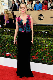 Sarah Paulson looked totally party-ready at the SAG Awards in an Armani Privé gown featuring a multicolored feather bodice.