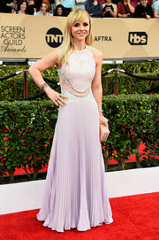 Christina Ricci looked ultra girly at the SAG Awards in a pastel-hued Christopher Kane gown with a lace bodice and a pleated skirt.