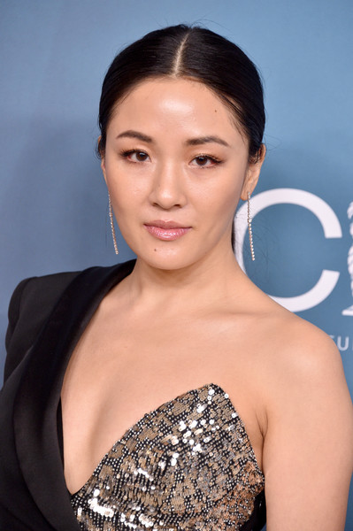 Constance Wu kept her beauty look natural with just a swipe of lipgloss.