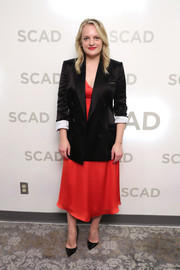 Elisabeth Moss layered a black blazer over a red midi dress for the 2019 SCAD Savannah Film Festival.