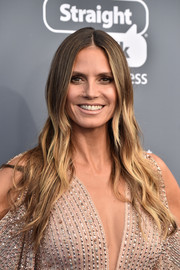 Heidi Klum sported hippie-chic ombre waves at the 2018 Critics' Choice Awards.