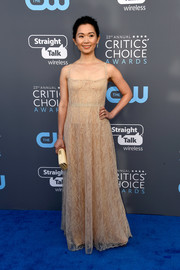 Hong Chau donned a nude lace gown by Dior for the 2018 Critics' Choice Awards.