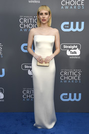 Emma Roberts proved simple can be extremely elegant with this strapless satin number by Armani at the 2018 Critics' Choice Awards.