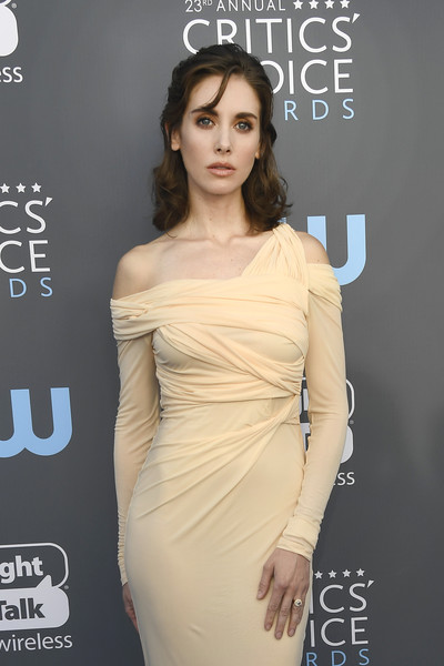 More Pics of Alison Brie Off-the-Shoulder Dress (1 of 5) - Dresses & Skirts Lookbook - StyleBistro [shoulder,dress,clothing,fashion model,cocktail dress,joint,hairstyle,beauty,fashion,neck,arrivals,alison brie,santa monica,california,barker hangar,annual critics choice awards]