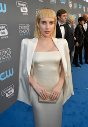 Emma Roberts layered a white satin blazer over a matching strapless dress for her 2018 Critics' Choice Awards look.