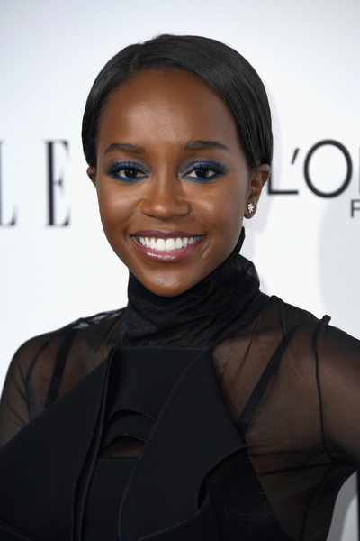 More Pics of Aja Naomi King Jewel Tone Eyeshadow (2 of 2) - Makeup Lookbook - StyleBistro [hair,face,hairstyle,eyebrow,beauty,lip,skin,black hair,forehead,smile,honoree aja naomi king,arrivals,los angeles,four seasons hotel,california,beverly hills,elle women in hollywood awards,annual elle women in hollywood awards]